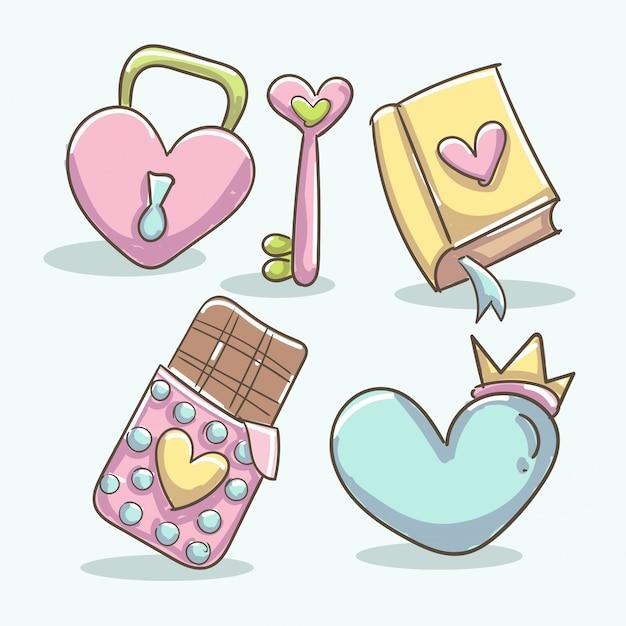 Elementos románticos con libro, cerradura de corazón, tableta de chocolate, llave de corazón y forma de corazón con corona. vector gratuito
