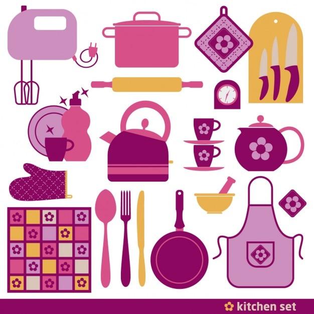 elementos rosas para cocinar descargar vectores gratis