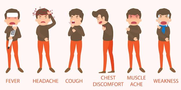 Elementos de síntomas de gripe Vector Premium