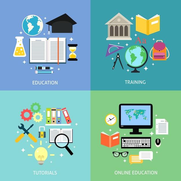 Elementos sobre educación para infografías vector gratuito