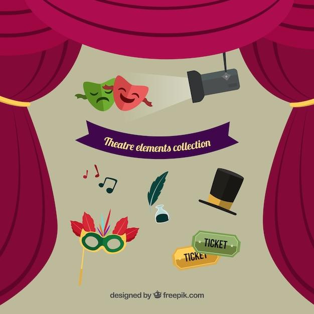 Elementos de teatro fantásticos en diseño plano vector gratuito