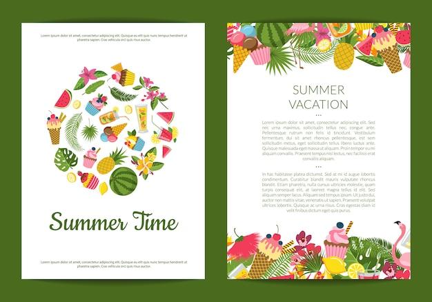 Elementos de verano lindos planos, cócteles, flamenco, tarjeta de hojas de palma Vector Premium