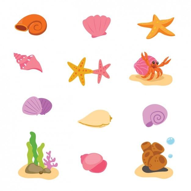 Elementos de vida marina coloridos vector gratuito