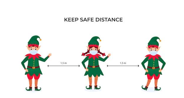 Elfos navideños divertidos en máscaras protectoras. mantenga la distancia social. medidas preventivas durante la pandemia de coronavirus coivd-19. Vector Premium