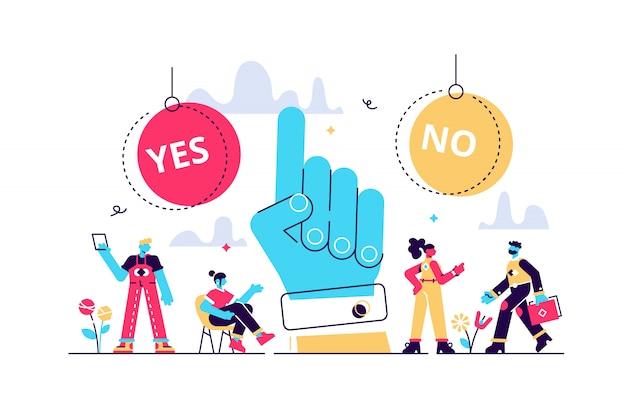 Elige la ilustración. concepto de personas de proceso de elección de opciones pequeñas planas. escena simbólica con respuestas sí o no y toma de decisiones. persuasión positiva o negativa y visualización convincente. Vector Premium