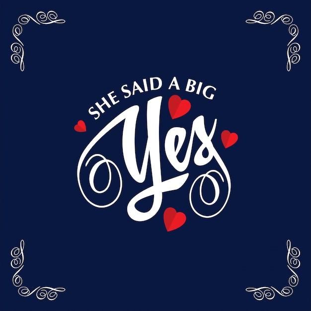 Ella dijo un gran sí con marco y fondo azul | Descargar Vectores gratis