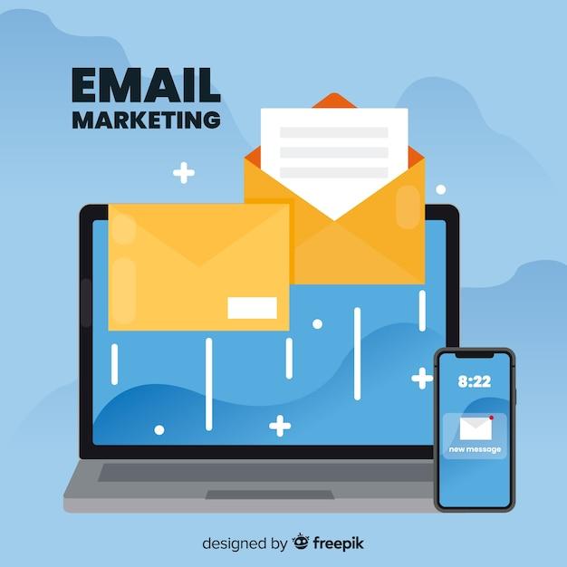 Email marketing en diseño plano vector gratuito