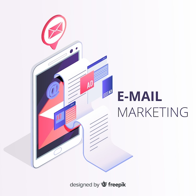Email marketing estilo isométrico vector gratuito