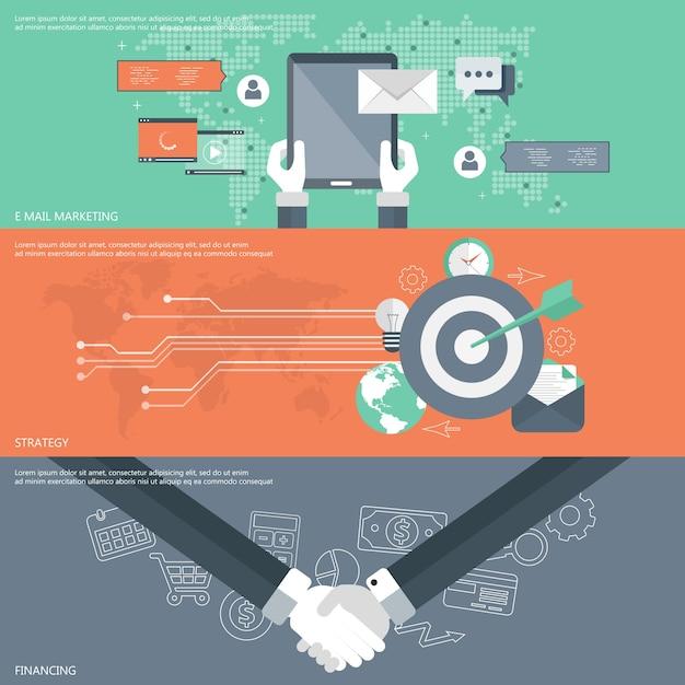 Email marketing, estrategia, financiación de banners Vector Gratis