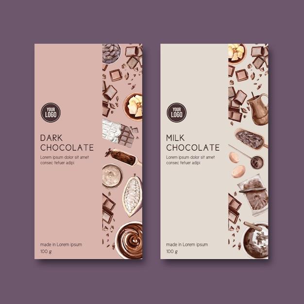 Embalaje de chocolate con ingredientes cacao, ilustración acuarela vector gratuito
