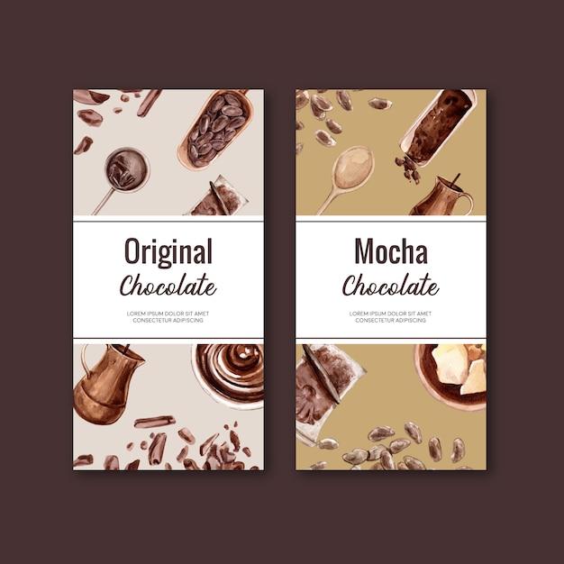 Embalaje de chocolate con ingredientes rama cacao, ilustración acuarela vector gratuito