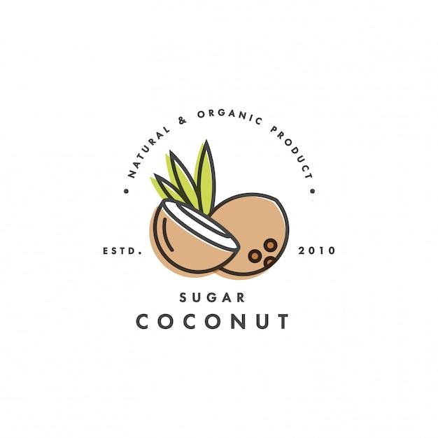 Embalaje logotipo de la plantilla y emblema - azúcar - coco. logotipo en estilo lineal moderno. Vector Premium