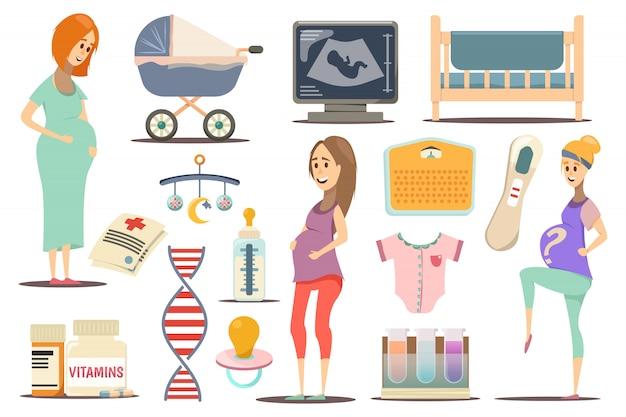 Embarazo conjunto de iconos plana vector gratuito