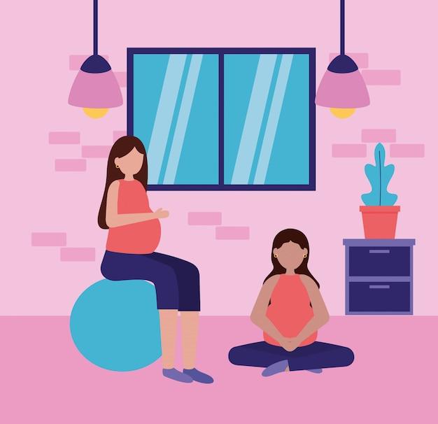 Embarazo y escena de maternidad vector gratuito