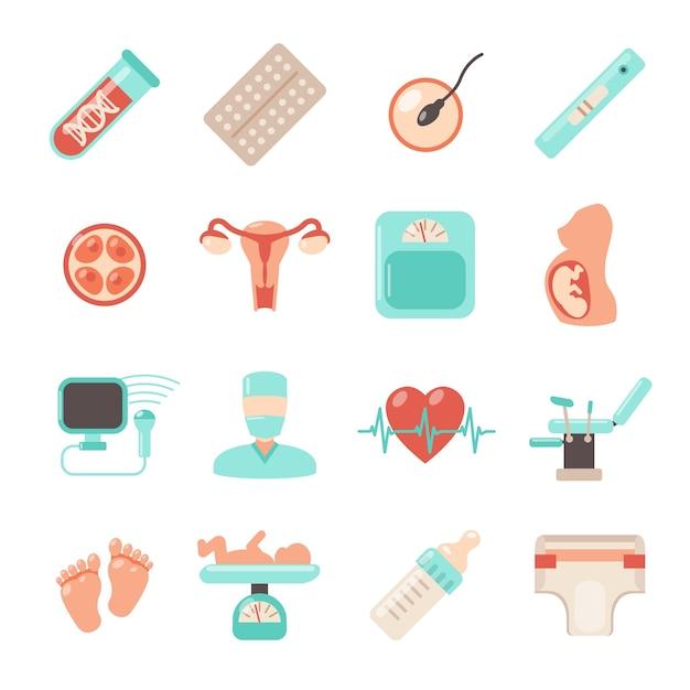 Embarazo iconos recién nacidos vector gratuito