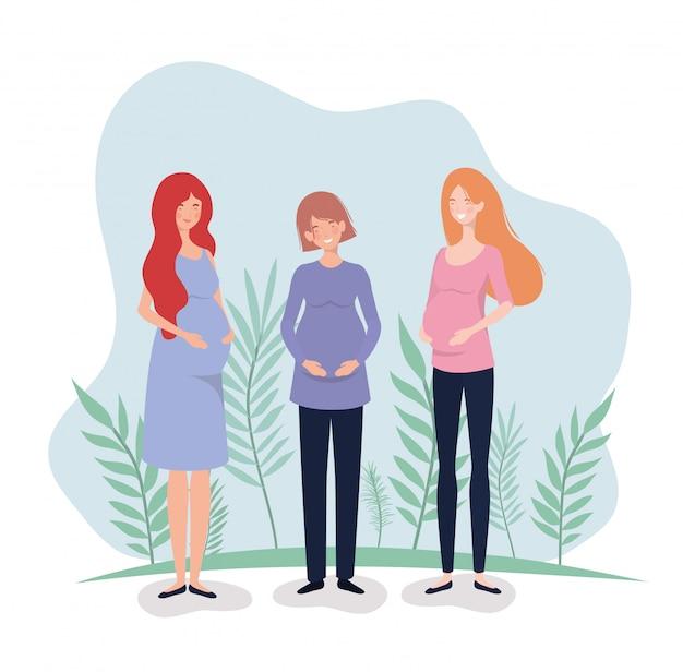 Embarazo lindo de las mujeres en el paisaje vector gratuito