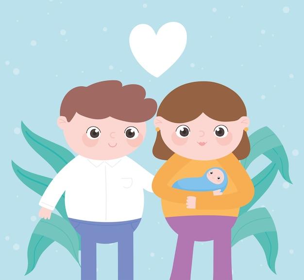 Embarazo y maternidad, lindos padres junto con bebé en brazos Vector Premium