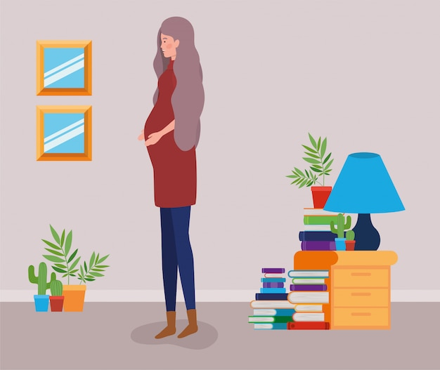 Embarazo mujer en casa lugar escena vector gratuito