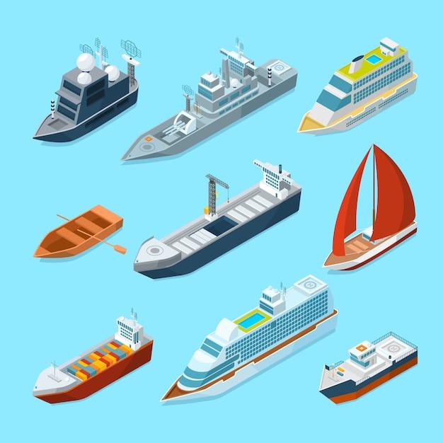 Embarcaciones isométricas de pasajeros de mar y diferentes embarcaciones en puerto. ilustraciones marinas Vector Premium