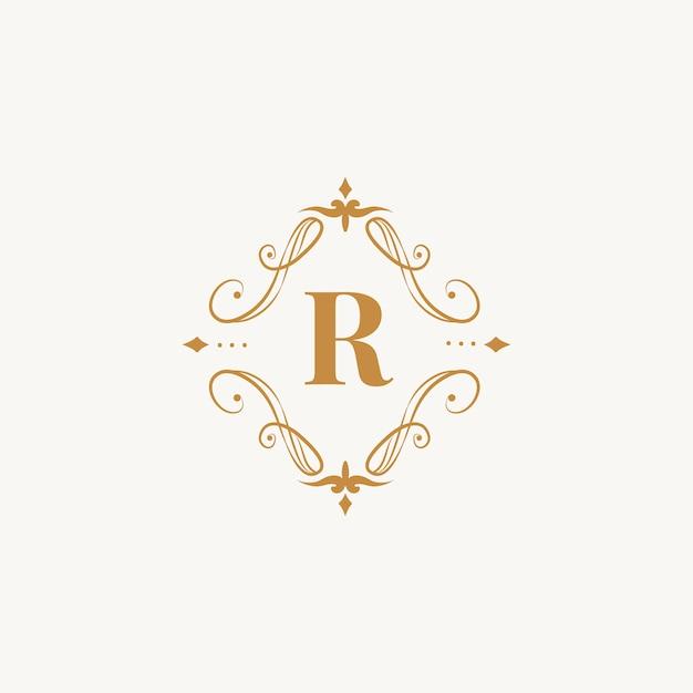 Emblema clásico con inicial vector gratuito