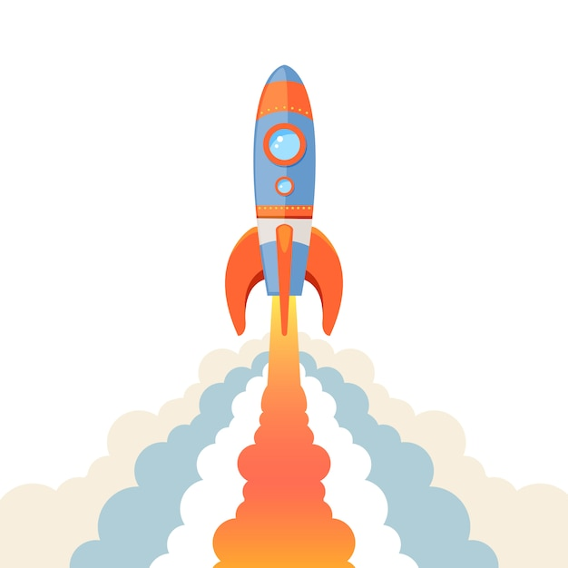 Emblema de cohete aislado vector gratuito