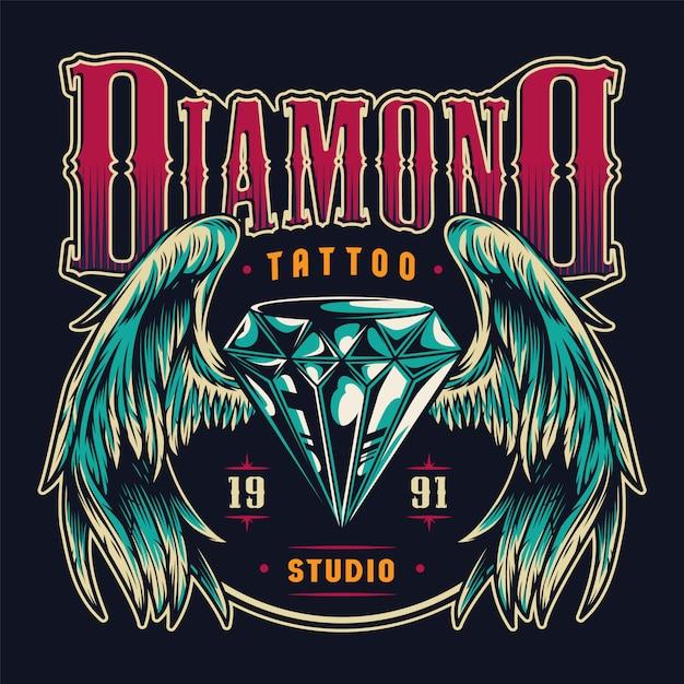 Emblema colorido del salón de tatuajes vintage vector gratuito