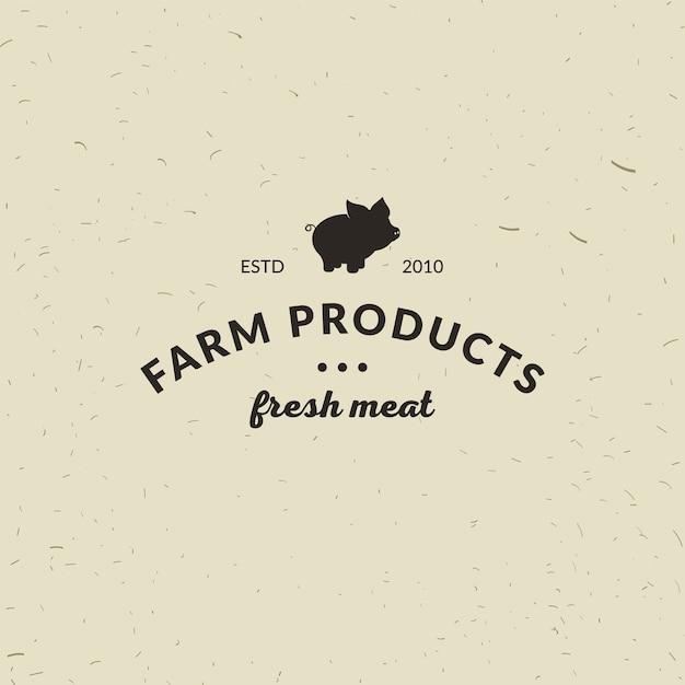 Emblema de carnicería de carne con silueta de cerdo, texto the ...