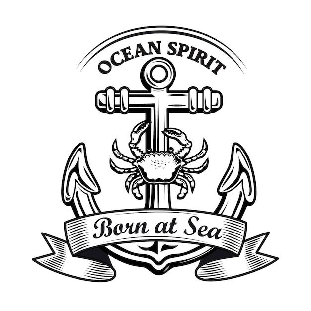 Emblema del espíritu del océano vector gratuito