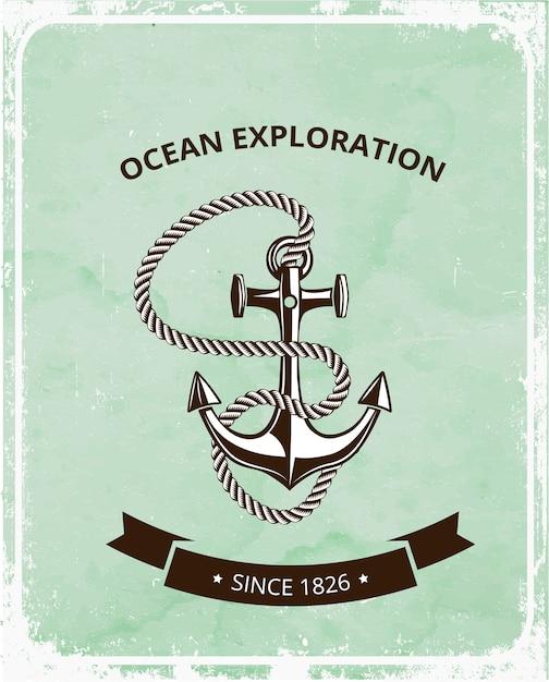 Emblema de exploración del océano con ancla y cuerda. Vector Premium
