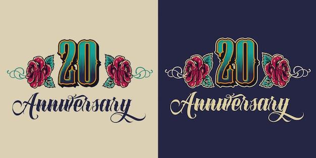 Emblema festivo vintage del vigésimo aniversario vector gratuito