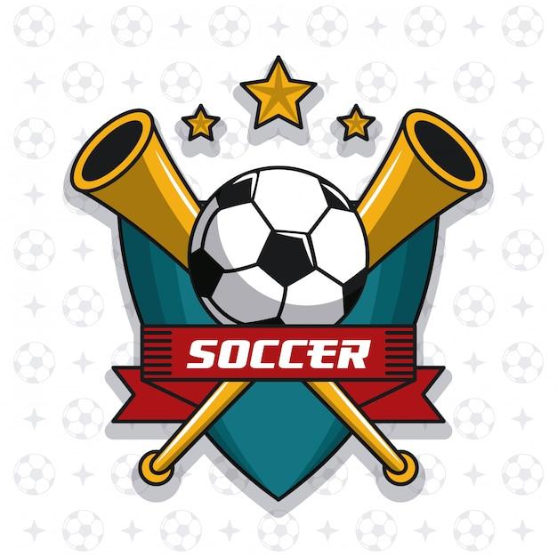 c90722a645988 Emblema de fútbol con pelota y estrellas