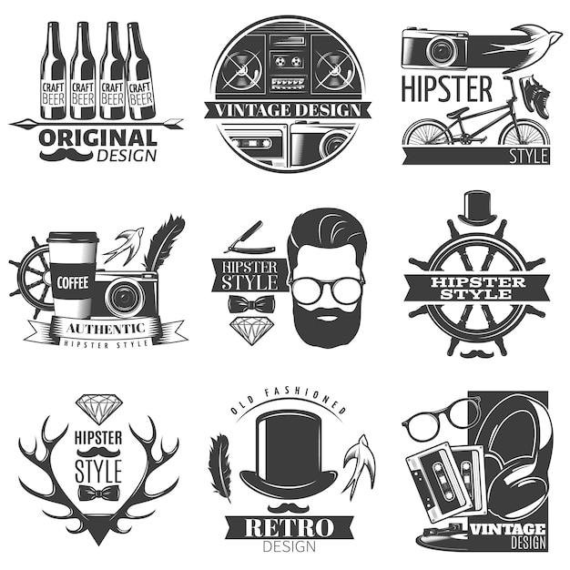 Emblema de hipster negro con descripciones de la ilustración de vector de estilo hipster vintage y retro original vector gratuito