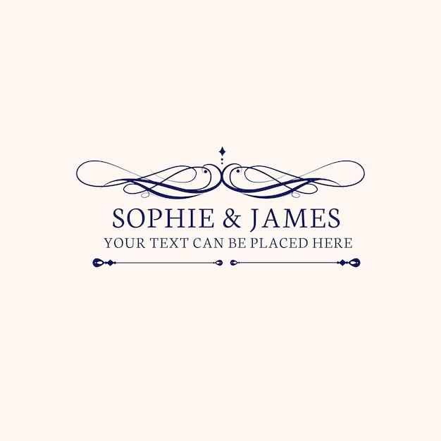 Emblema de invitación de boda vector gratuito