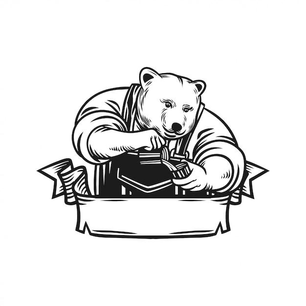 Emblema del logotipo del oso barista Vector Premium