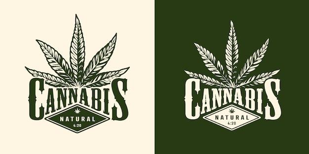 Emblema de marihuana monocromo vintage vector gratuito
