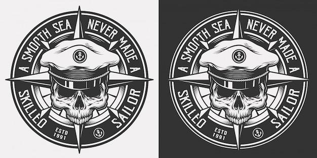 Emblema monocromo náutico vintage vector gratuito