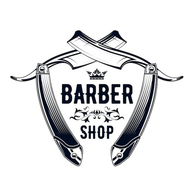 Emblema de peluquería vintage - antigua navaja de afeitar, logotipo de barbería Vector Premium