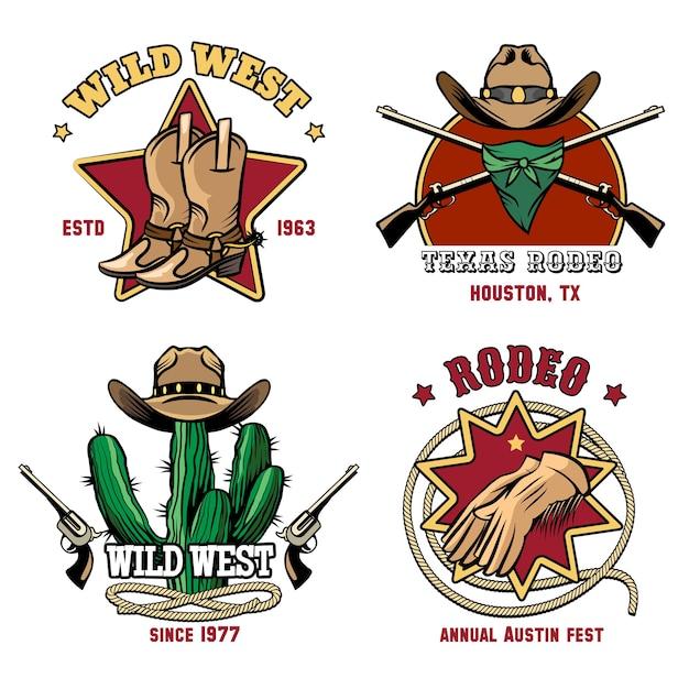 Emblema de rodeo vaquero retro. sombrero e insignia americana occidental. vector gratuito