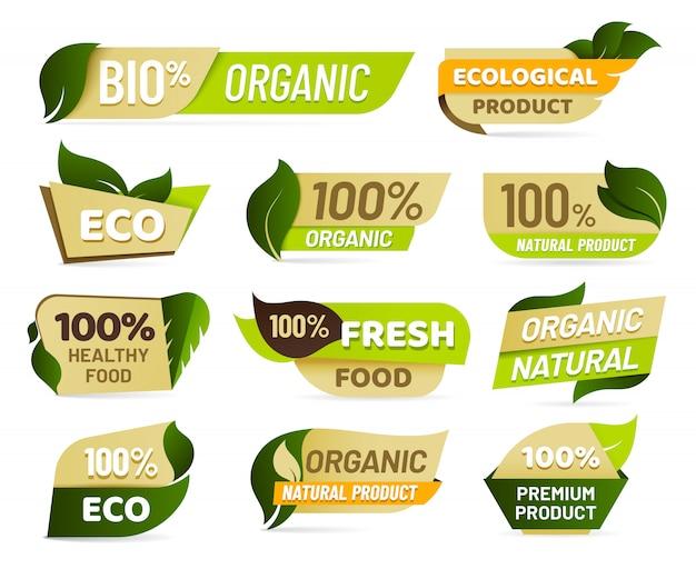 Emblema vegano. insignia de producto de naturaleza fresca, etiqueta de productos de comida vegetariana saludable y conjunto de etiquetas de alimentos ecológicos Vector Premium