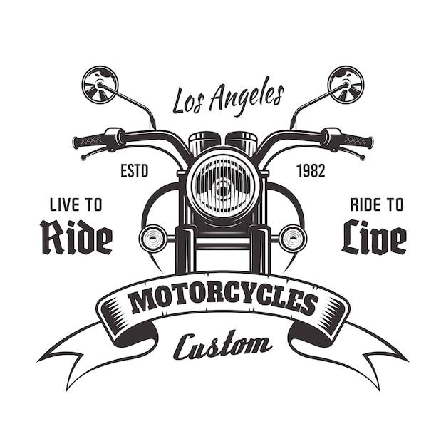 Emblema vintage monocromo de vista frontal de motocicleta con cinta y texto de muestra sobre fondo blanco Vector Premium