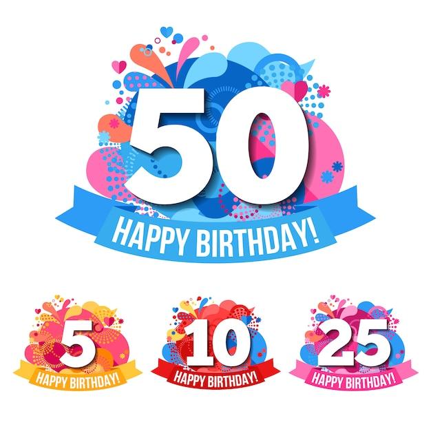 Emblemas de aniversario con felicitaciones de feliz cumpleaños vector gratuito