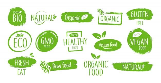 Emblemas de bioproductos vector gratuito