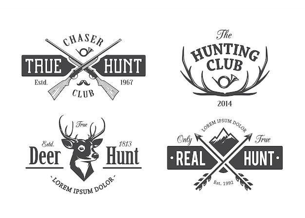 Emblemas de caza vintage vector gratuito