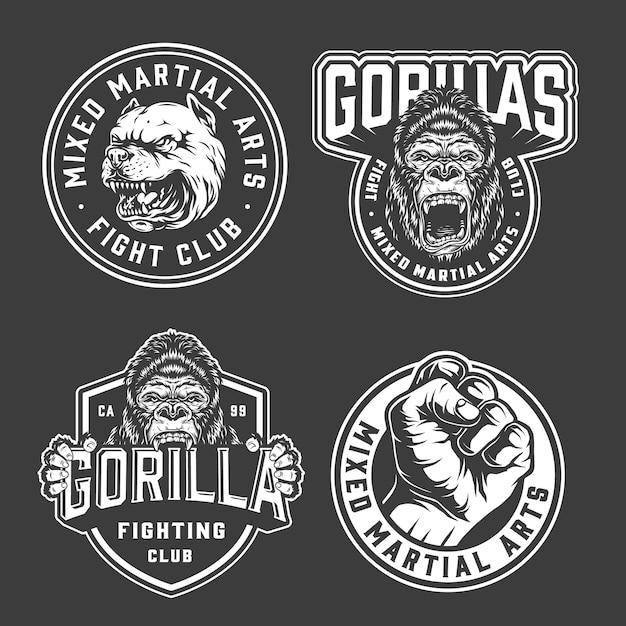 Emblemas de club de lucha vintage vector gratuito