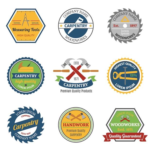 Emblemas de color de carpintería vector gratuito