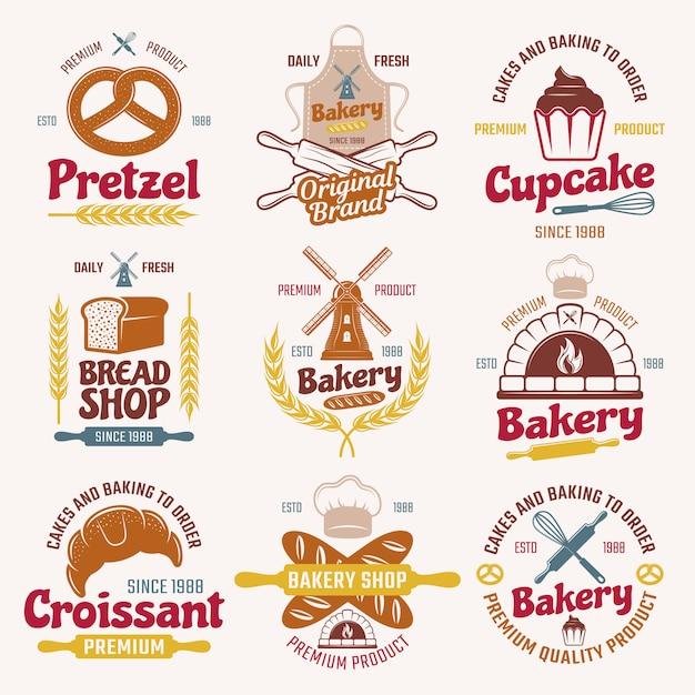 Emblemas de estilo retro de productos de harina vector gratuito