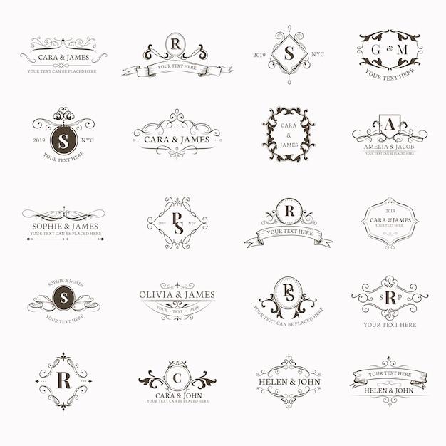Emblemas con iniciales establecidas vector gratuito