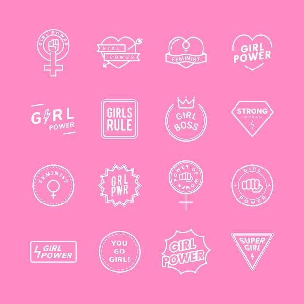 Emblemas mixtos de poder chica establecen ilustración vector gratuito