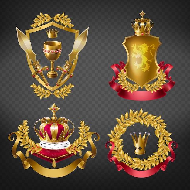 Emblemas reales heráldicos con coronas doradas de monarca, escudo, corona de laurel, cinta, copa y espada. vector gratuito