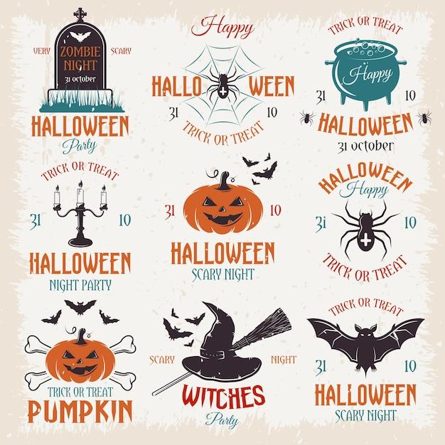 Emblemas retro de halloween vector gratuito